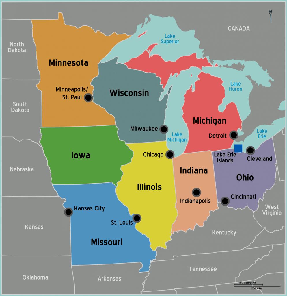 carte Detroit dans le Michigan et Etats americains voisins