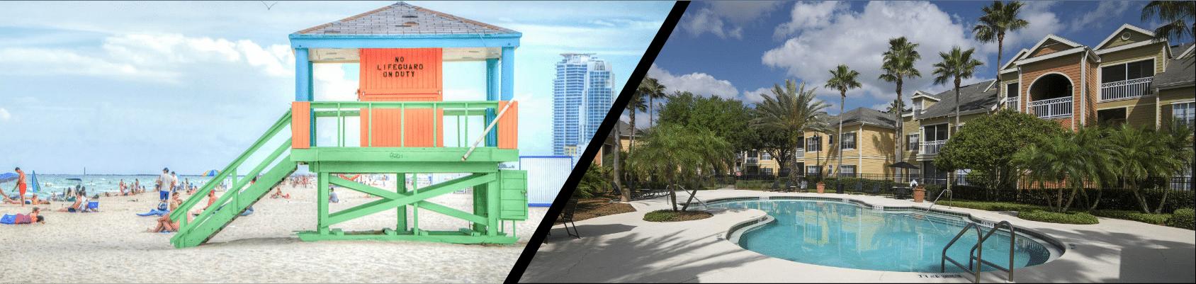 Voici une petite maison de sauvetage d'une plage de floride et une résidence d'appartements