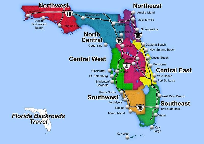 carte des villes de floride par région nord, centre et sud.