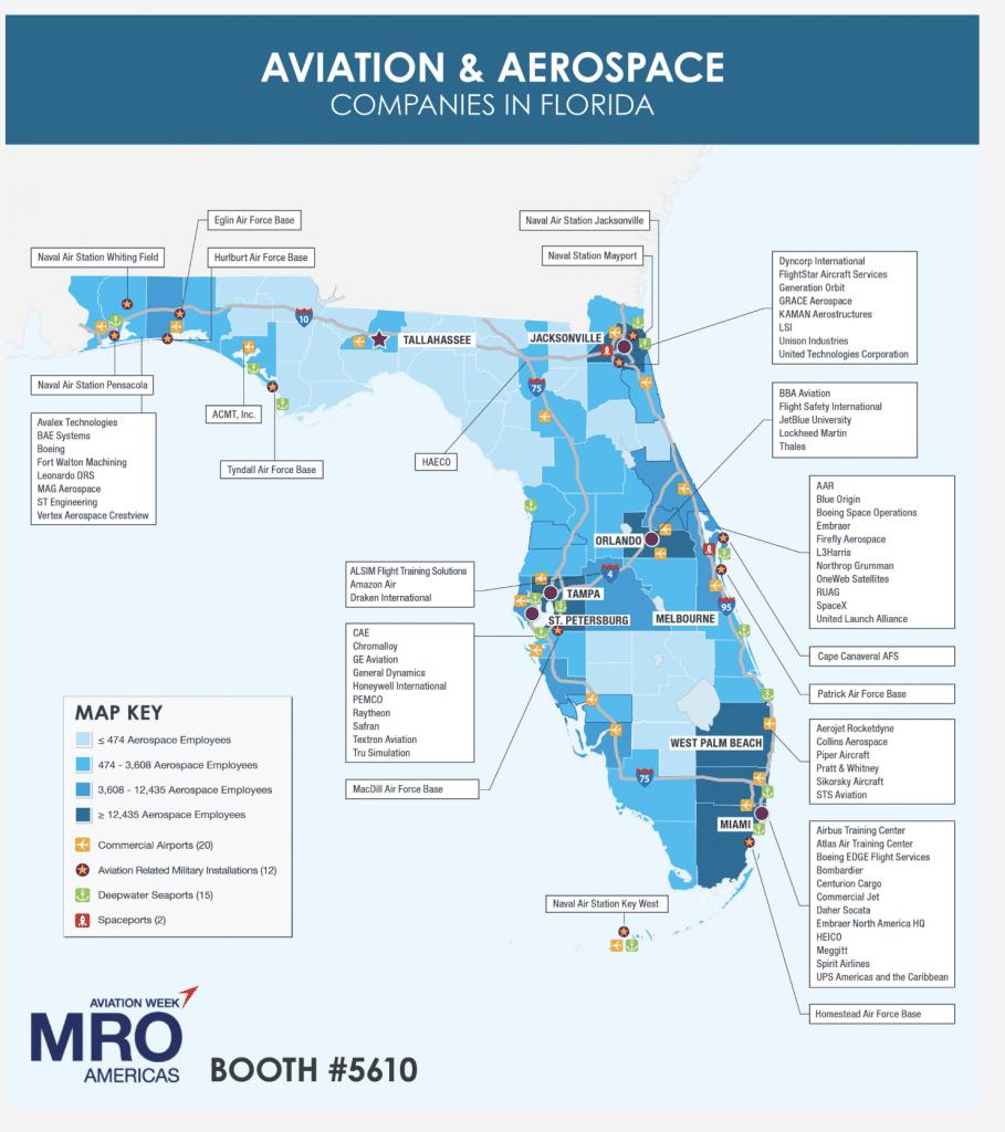 carte de l'industrie de l'aviation et de l'aérospatiale en Floride