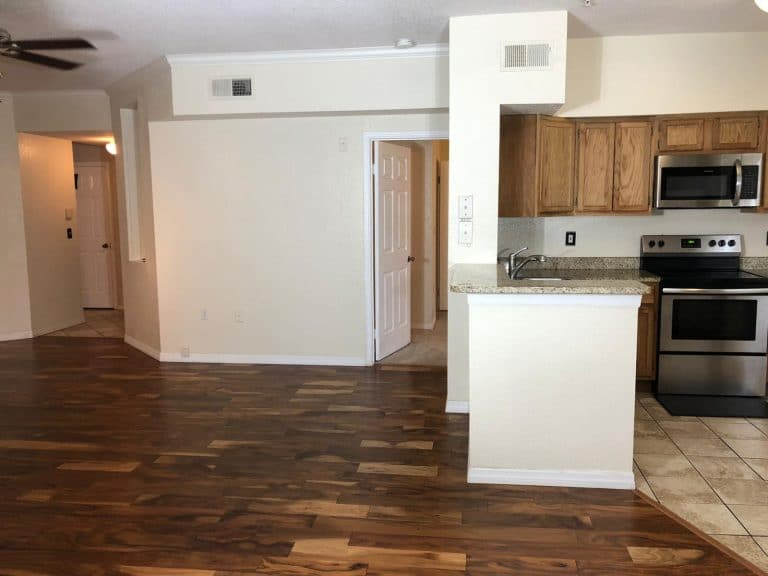 salon avec parquet et cuisine avec plan de travail en marbre