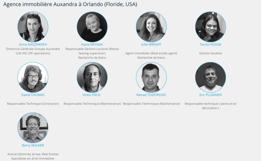 equipe de gestion locative Auxandra à Orlando en Floride