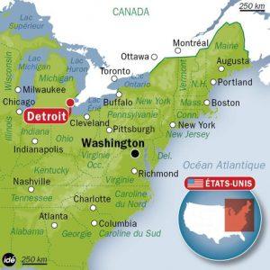 emplacement de la ville de Détroit sur une carte des USA