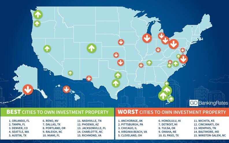 carte de floride mentionnant les meilleures et les pires villes pour un achat immobilier