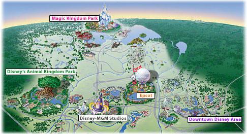 Carte des parcs à thèmes de Walt Disney World à Orlando