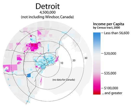 Distribution revenu par habitant à Détroit Michigan