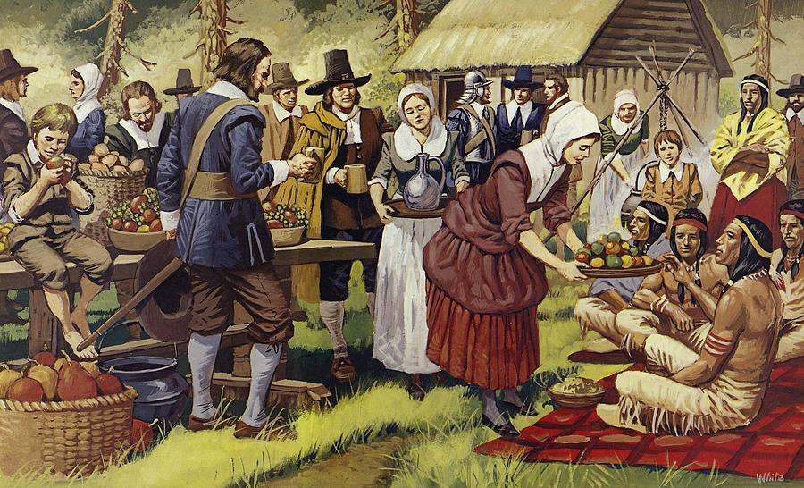 Peinture représentant le premier thanksgiving aux etats-unis