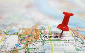 carte routière montrant la ville d'Orlando en Floride