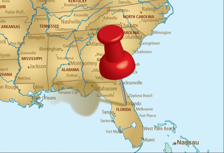 carte de Floride, USA
