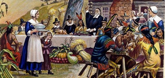 Premier repas de Thanksgiving entre les colons américains et les indiens d'Amérique.