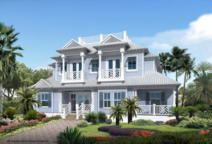 superbe villa en floride en bardage bois gris clair